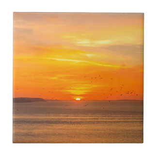 Sunset  Coast with Orange Sun and Birds Tile