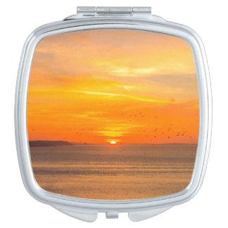 Sunset  Coast with Orange Sun and Birds Travel Mirrors