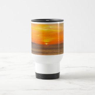 Sunset Coast with Orange Sun and Birds Travel Mug