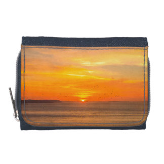 Sunset Coast with Orange Sun and Birds Wallets