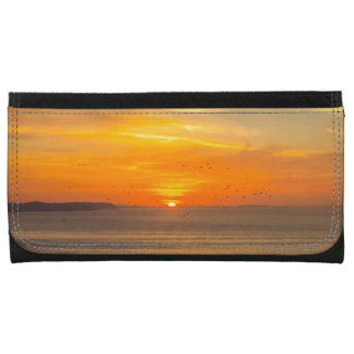 Sunset Coast with Orange Sun and Birds Wallets For Women