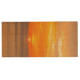Sunset Coast with Orange Sun and Birds Wood USB 2.0 Flash Drive
