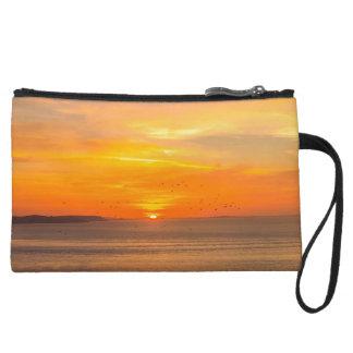Sunset Coast with Orange Sun and Birds Wristlet