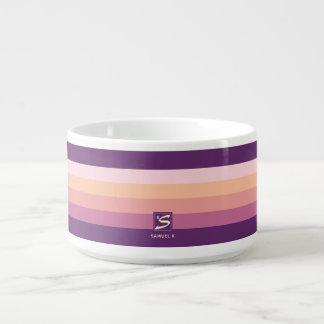 Sunset Color Palette Stripe Monogram Bowl