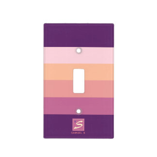 Sunset Color Palette Stripe Monogram Light Switch Cover