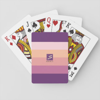 Sunset Color Palette Stripe Monogram Playing Cards