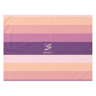 Sunset Color Palette Stripe Monogram Tablecloth