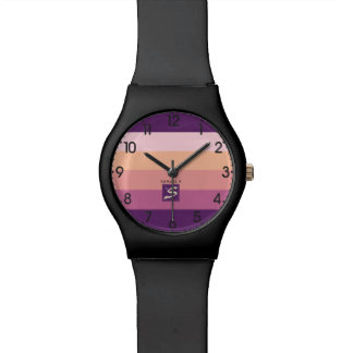 Sunset Color Palette Stripe Monogram Watch