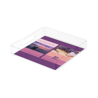 Sunset Color Palette Stripe Photo Monogram Acrylic Tray