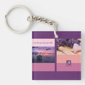 Sunset Color Palette Stripe Photo Monogram Keychain
