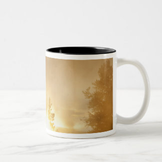 Sunset colors the steam above Leather Pool in Two-Tone Coffee Mug