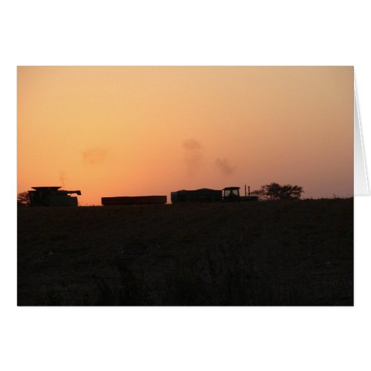 Sunset Combine and Tractor Card