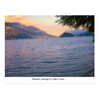 Sunset coming to Lake Como Postcard