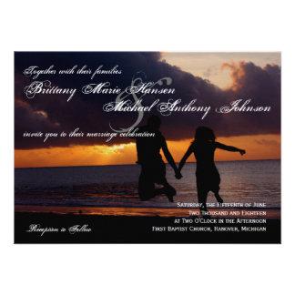 Sunset Couple Silhouette Beach Wedding Invitation