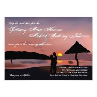 Sunset Couple Silhouette Lake Wedding Invitation