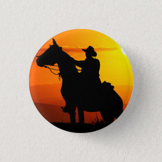 Sunset cowboy-Cowboy-sunshine-western-country 1 Inch Round Button