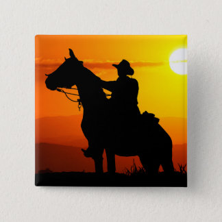 Sunset cowboy-Cowboy-sunshine-western-country 2 Inch Square Button