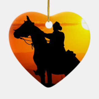 Sunset cowboy-Cowboy-sunshine-western-country Ceramic Heart Ornament