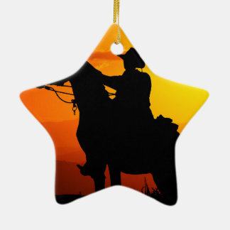 Sunset cowboy-Cowboy-sunshine-western-country Ceramic Star Ornament