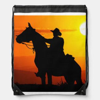 Sunset cowboy-Cowboy-sunshine-western-country Drawstring Bag