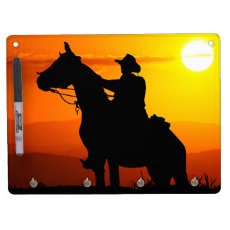Sunset cowboy-Cowboy-sunshine-western-country Dry Erase Board With Keychain Holder