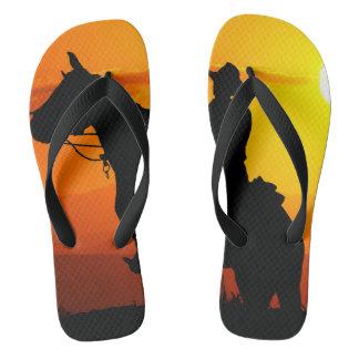 Sunset cowboy-Cowboy-sunshine-western-country Flip Flops