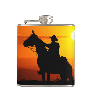 Sunset cowboy-Cowboy-sunshine-western-country Hip Flask