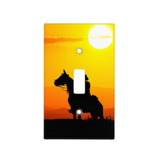 Sunset cowboy-Cowboy-sunshine-western-country Light Switch Cover