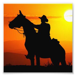 Sunset cowboy-Cowboy-sunshine-western-country Photo Print