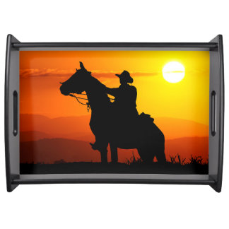 Sunset cowboy-Cowboy-sunshine-western-country Serving Tray