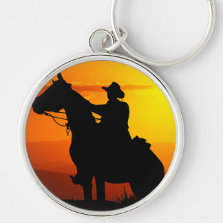 Sunset cowboy-Cowboy-sunshine-western-country Silver-Colored Round Keychain