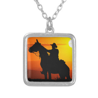 Sunset cowboy-Cowboy-sunshine-western-country Silver Plated Necklace