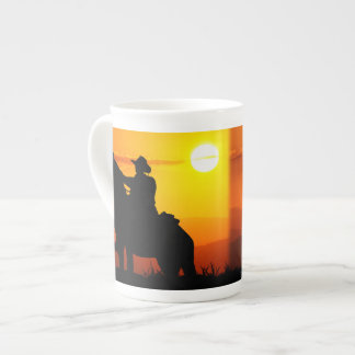 Sunset cowboy-Cowboy-sunshine-western-country Tea Cup