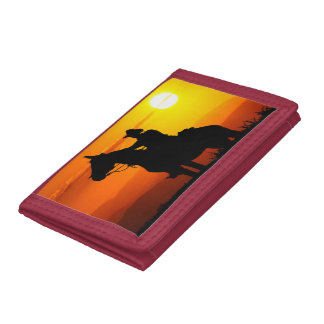 Sunset cowboy-Cowboy-sunshine-western-country Tri-fold Wallet