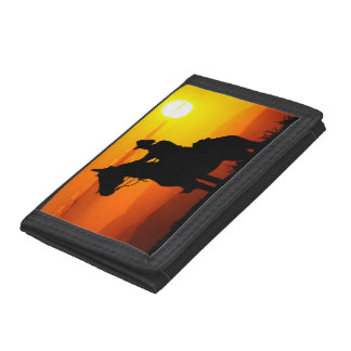 Sunset cowboy-Cowboy-sunshine-western-country Trifold Wallet