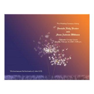 Sunset Dandelions Wedding Program