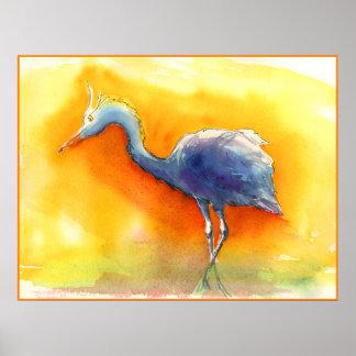 Sunset Egret Poster