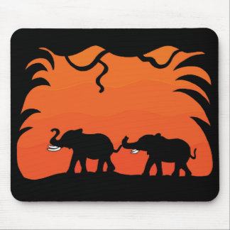 Sunset Elephants Mouse Pad