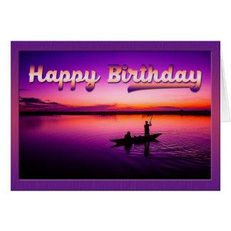 Sunset Fishing Birthday Greeting Card