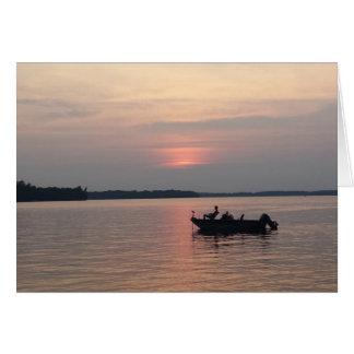 Sunset Fishing on the Lake Card