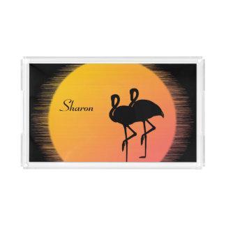 Sunset Flamingos Acrylic Tray