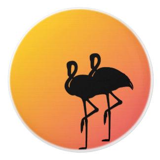 Sunset Flamingos Ceramic Knob