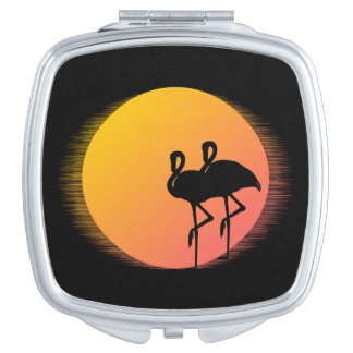 Sunset Flamingos Compact Mirror