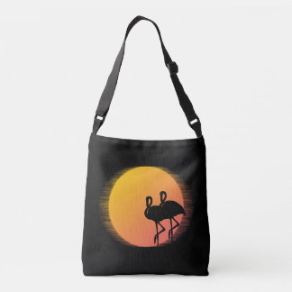 Sunset Flamingos Crossbody Bag
