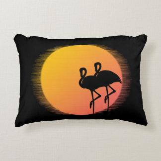 Sunset Flamingos Decorative Pillow