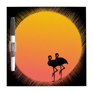 Sunset Flamingos Dry Erase Board