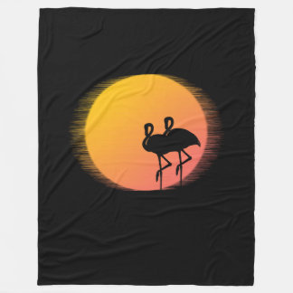 Sunset Flamingos Fleece Blanket