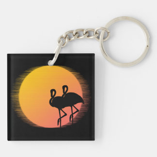 Sunset Flamingos Keychain