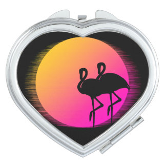 Sunset Flamingos Makeup Mirror