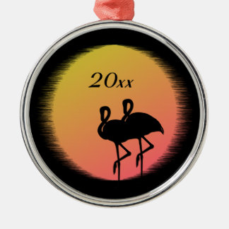 Sunset Flamingos Metal Ornament